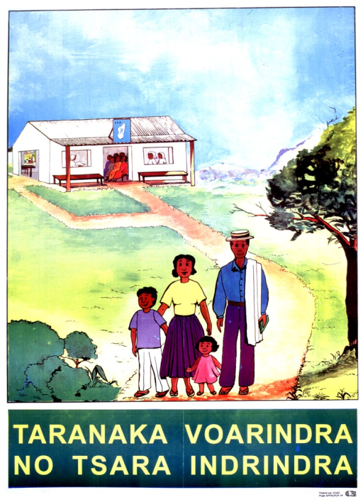 <p>Multicolor poster with yellow lettering.  Upper portion of poster features illustration of a four-member family walking away from a building.  A health worker teaches a class in the building, which has a sign labeled &quot;F.F.P.&quot;  That acronym may stand for Fandrindrana Fiainam-Pianakaviana, or Family Planning Service.  Sponsor information in lower right corner.</p>