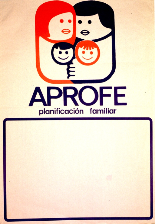 <p>Off-white poster with blue lettering.  Logo featuring a slightly abstract four-member family at top of poster.  Title below logo.  Large blank space bordered in blue at bottom of poster, as if for contact information or event announcements.</p>