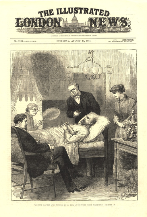 <p>A group of people hover of the death bed of the President, who lies on the bed with his hands on his chest and his eyes partially opened.</p>