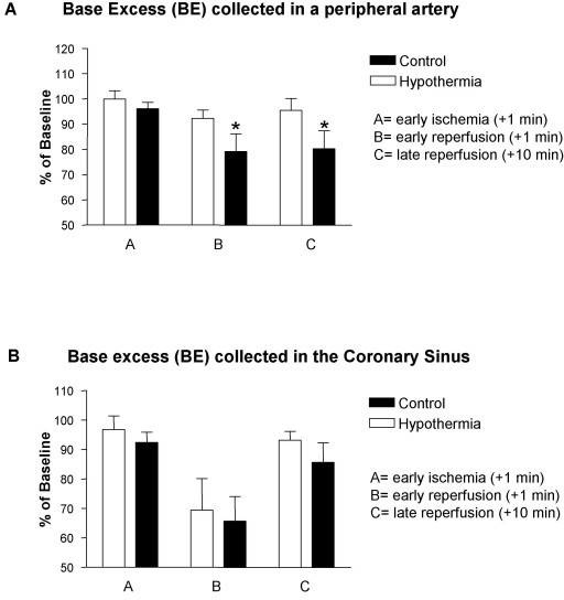 Base excess (BE) collected in a peripheral artery and the Coronary Sinus. Base excess (BE) was measured in a peripheral artery (A) and in the Coronary Sinus (CS), (B). There was no difference between normothermic (n = 8) and hypothermic pigs at baseline. During early (+1 minute) and late (+10 minutes) reperfusion there was a significant reduction in BE in the normothermic group in samples from the peripheral artery (A). In samples from the CS, there was a marked reduction in BE in both groups during early reperfusion, which then nearly returned back to baseline at late reperfusion with no difference between the groups (B).