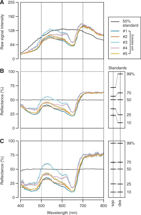 Retrieval of reflectance data from hyperspectral images. Data in each plot are the mean ± SD (SD is shown by a vertical bar) derived from measurements in five different leaves of Arabidopsis plants from each subdata set or 25 different areas in the 50% reflectance standard. Details of each subdata set (#1–5) are summarized in Table 1. Plants grown under normal conditions (as defined in Table 1) were used. (A) Raw signal output from the hyperspectral imaging sensor. Values are in the range 0–255 (8-bit). Note that the signal detected in the areas of the standard is proportional to the irradiation intensity of the light source. (B) Reflectance spectra of leaves as determined by linear regression against the 50% reflectance standard. The means ± SD of the calculated (observed, abbreviated as obs.) and actual (expected, abbreviated as exp.) reflectance of five different standards (10, 25, 50, 70 and 99%) through the entire 72 wavebands (400–800 nm) are indicated on the right. Expected values are from the calibration certificate of the standards provided by the manufacturers. Except for the 50% standard, the observed and expected reflectance did not agree with each other at this step. (C) Reflectance spectra of leaves after second-order correction for the sensor's non-linearity. The values of the coefficients in quadratic functions used to transform the reflectance at each waveband in B to that in C are shown in Supplementary Table S1. Here, the observed and expected reflectance of the five standards agree closely with each other as shown on the right.