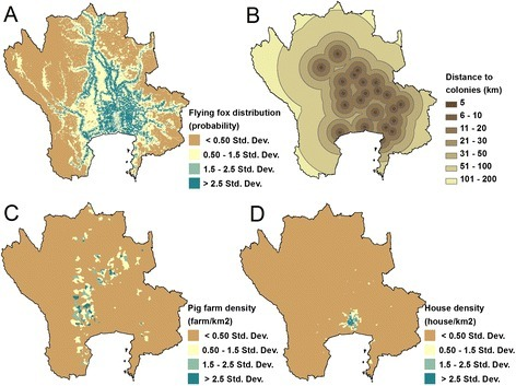 Factors used in mapping NiV risk. Maps of 4 factors used for analyzing the risk map of NiV in the central plain of Thailand: flying fox distribution map (A); distance to the flying foxes colonies (B); pig farm density at the sub-district level (C); house density at the sub-district level (D).