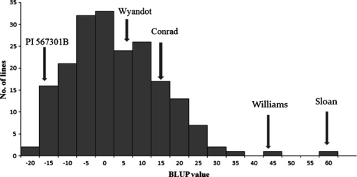 Frequency distribution of BLUP values for disease severity index of F7:10 recombinant inbred lines (RILs) population derived from the cross of 'Wyandot' × PI 567301B. Estimates of two parents and checks are indicated by arrows. A lower BLUP value means higher level of resistance to F. graminearum