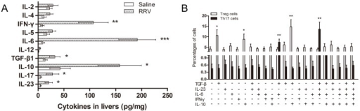 Impact of cytokines on Th17 and Treg cells in BA mice.(A) Cytokine levels in the supernatant of liver cell suspensions of RRV or saline injected mice were determined by ELISA and are reported as the mean ± SEM (n = 15). * P<0.05, ** P<0.01, *** P<0.001. (B) Th17 cells detected in culture medium of CD4+ naïve T cells stimulated with plate-bound anti-CD3 and soluble anti-CD28 mAbs in the presence or absence of the indicated cytokines, followed by re-stimulation with PMA and ionomycin 7 days later. The results are reported as the mean ± SEM (n = 10). * P<0.05, ** P<0.01.