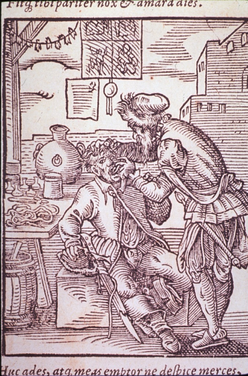 <p>An itinerant dentist works on a patient's teeth at an open-air shop.</p>