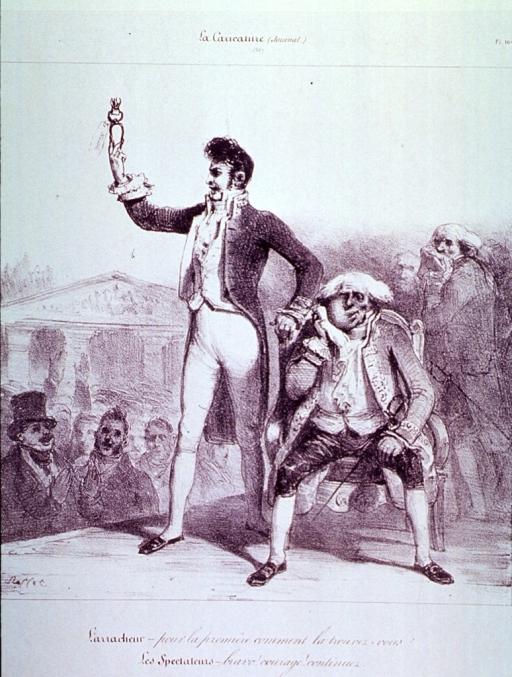 <p>In a carnival setting, a dentist, following a demonstration of his skill, stands facing the crowd proudly displaying the tooth he has just extracted.  The patient sits in a chair, his hand against a swollen cheek.</p>