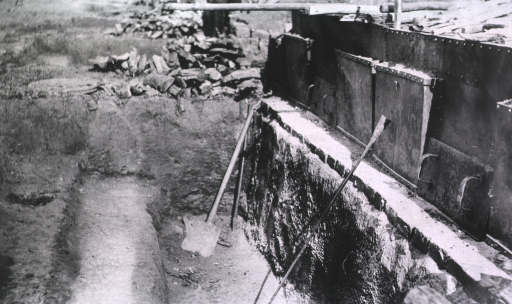 <p>A view of shovels in a hole that serves as a regimental field bakery.</p>