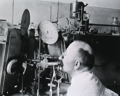 <p>Professor Franz Mueller using his apparatus for studying the flow of blood in the body.</p>