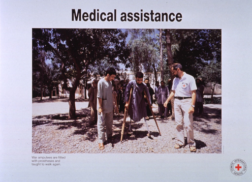 <p>White poster with black lettering.  Title at top of poster.  Visual image is a reproduction of a color photograph in which a Red Cross worker stands by as a man with two prosthetic legs walks with the help of crutches.  Several other men look on.  Caption below photo.  Publisher information in lower right corner.</p>