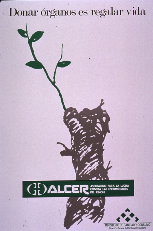 <p>Predominantly white poster with multicolor lettering.  Title at top of poster.  Visual image is a color illustration of a tree branch or stump with a new, green twig growing out of it.  Publisher information superimposed on illustration.  Sponsor information in lower right corner.</p>