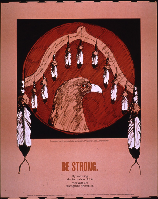 <p>Predominantly tan poster with brown and black lettering.  Visual image is an illustration of a circular shield or piece of artwork that is adorned with feathers and the profile of an eagle.  Title and caption below illustration.  Publisher and sponsor information at bottom of poster.</p>