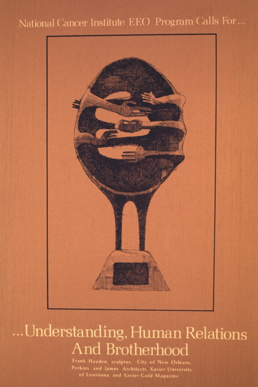 <p>A picture of a sculpture by Frank Hayden occupies most of the poster.  It is done and framed in black on a medium brown background.  It shows a large oval standing on legs with the legs disappearing into the base supporting it.  There are several sets of arms reaching around both sides of the oval, trying to clasp hands.</p>