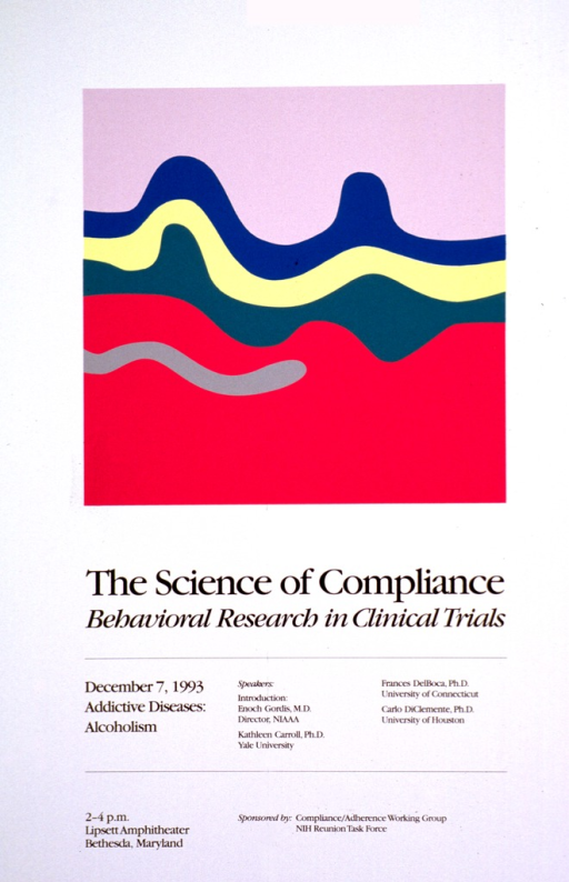 <p>White poster with black print. Visual image consists of wavy strips of pink, blue, yellow, green, deep pink, and gray, the two shades of pink being much wider than the others. Details of the lecture are given along with the topic to be discussed--addictive diseases, alcoholism.</p>