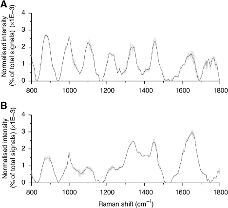 Mean normalised gastric Raman spectra (solid line) ±1 s.d. (grey area) obtained from a normal tissue (A) and a dysplasia tissue (B) by multiple measurements (n=5) at various locations for each sample. Each spectrum was normalised to the integrated area under the curve to correct for variations in absolute spectral intensity. All spectra were acquired in 5 s with 785-nm excitation and corrected for spectral response of the system.
