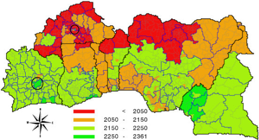 Nutrition map of West Africa: per capita daily food intake in 2005 in kilocalories. Source: own calculations.