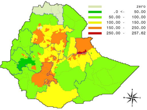 Hunger gap map for Ethiopia: per capita daily shortfall in food intake, measured in kilocalories. Source: own calculations.