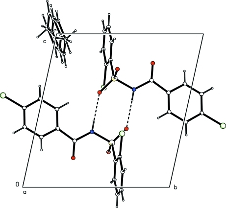 Molecular packing in the title compound. Hydrogen bonds are shown as dashed lines.