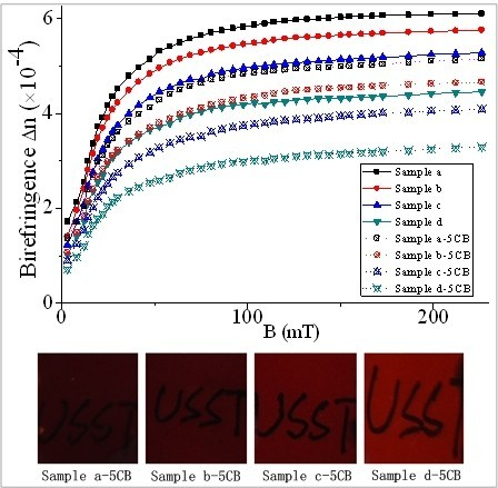 Birefringence of pure MFs and MFs doped with 5CB. Birefringence of pure MFs with different magnetic particle concentrations and MFs doped with 5CB as a function of magnetic induction.