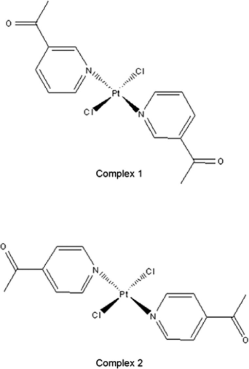 Structures of the investigated trans-platinum(II) complexes: trans-[PtCl2(3-acetylpyridine)2] 1; trans-[PtCl2(4-acetylpyridine)2] 2.