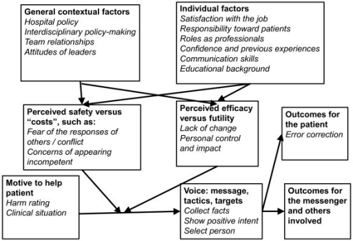 Model of health care professionals' speaking up. Bold shows the framework of Morrison's model of employee voice. Italic shows identified speaking-up factors