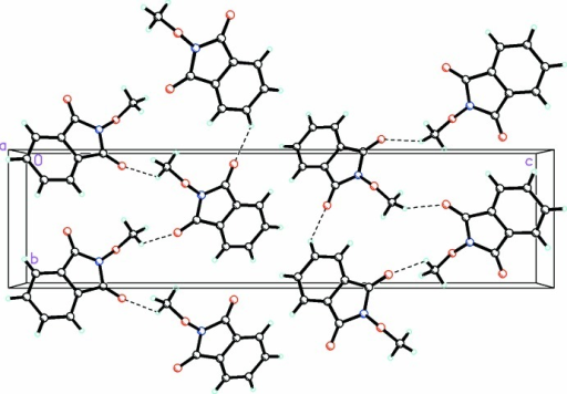 A view along the a axis of the crystal packing of compound (1), showing the formation of the three-dimensional array by an extensive network of C—H⋯O hydrogen bonds (shown as dashed lines; see Table 1 ▶ for details).