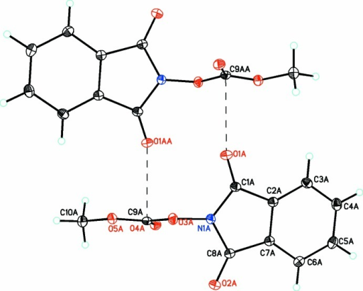 For mol­ecule A in compound (2), perpendicular inter­actions between atoms O1A and C9A (shown as dashed lines) link the mol­ecules into inversion dimers [symmetry code: (A) − x + 1, − y + 2, −z].