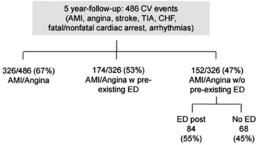 Number of major adverse cardiac and cerebrovascular events along the 5 years follow-up in the Thompson's study. AMI: anterior myocardial infarction; CHF: congestive heart failure; CV: cardiovascular; ED: erectile dysfunction; TIA: transient ischemic attack.