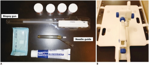 In-bore targeting devices.A. 150/175 mm 18-gauge automatic biopsy gun, prostate needle guide, bottles for sampled cores and lidocaine jelly are shown. B. Biopsy device with base plate for patient positioning (Invivo, Schwerin, Germany).
