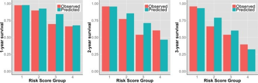 Observed versus the UCLA risk model‐predicted event‐free survival at 1, 2, and 3 years in 180 patients with advanced heart failure referred for heart transplantation assigned into 4 risk groups based on the UCLA risk score.
