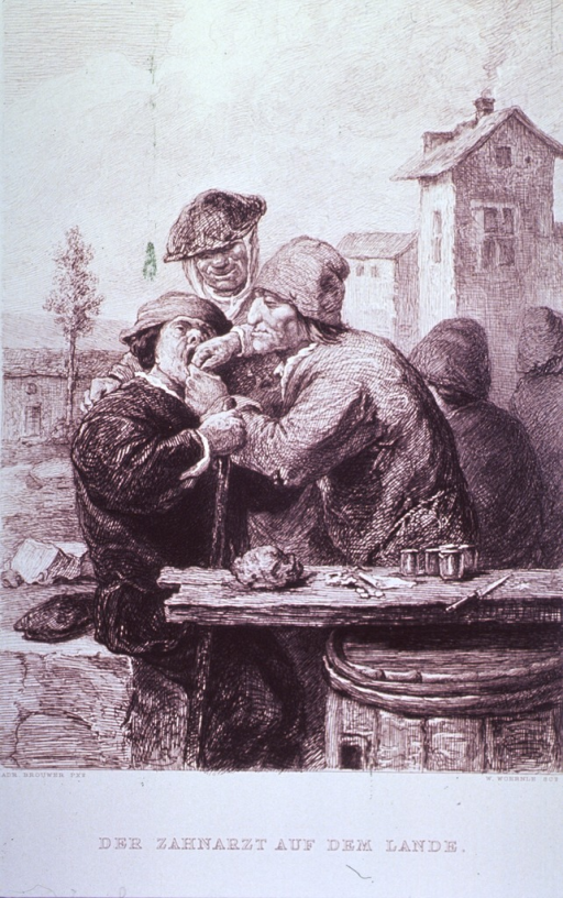 <p>An itinerant dentist, set up with a board on a barrel as his office, is extracting a tooth from a patient sitting on a large stone.</p>