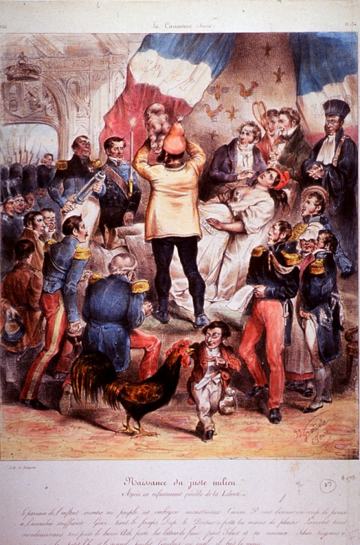 <p>Political caricature: childbirth scene, the physician (rear view) is holding up a newborn infant; the mother, wearing white, is lying on a table; a large crowd has gathered to witness the event, including men in military uniform, and a clergyman. In the foreground, a dwarf is playing with a chicken.</p>