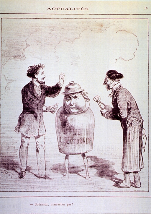 <p>Two men, one with a bottle (of ether?) and the other holding pincers, are standing before an animated bell jar with a swollen jaw.</p>