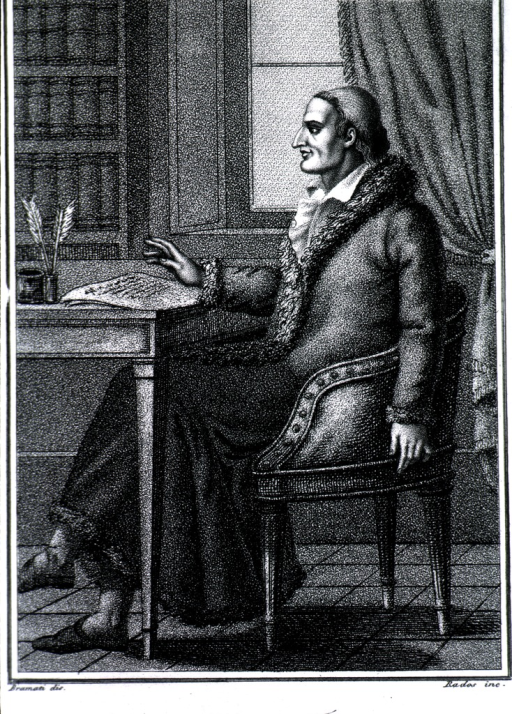 <p>Seated, full length, facing left, with hand on book.</p>