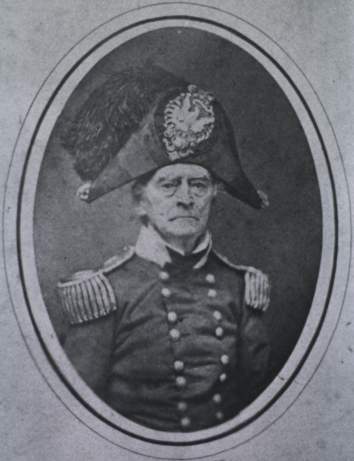<p>Half-length, full face; wearing uniform and cap; in oval.</p>