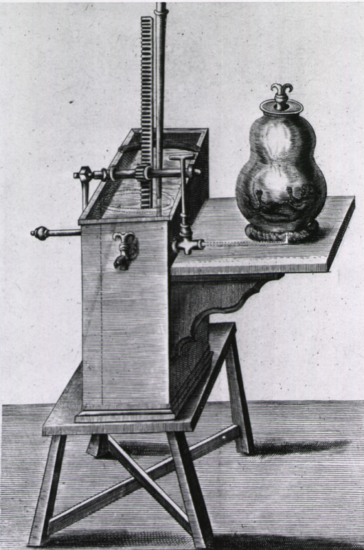 <p>Apparatus set up to form vacuum in a container which has a small animal inside.</p>