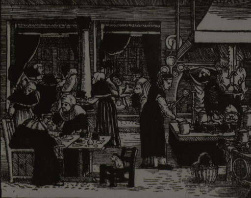 <p>Interior vew: kitchen, eating area, and wards all in close proximity; two bedridden patients are being attended to in the background.</p>