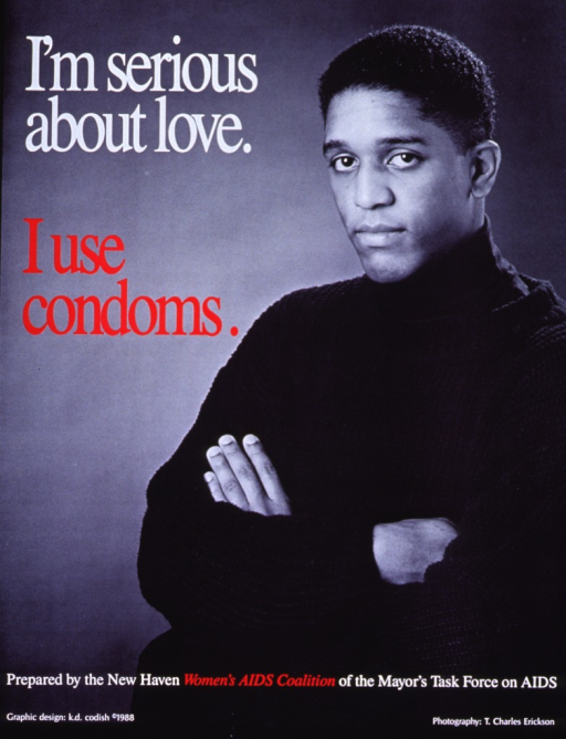 <p>Predominantly b&amp;w poster with white and red lettering.  Title in upper left corner.  Visual image is a reproduction of a b&amp;w photo of an African-American man with his arms crossed.  Publisher information at bottom of poster.</p>