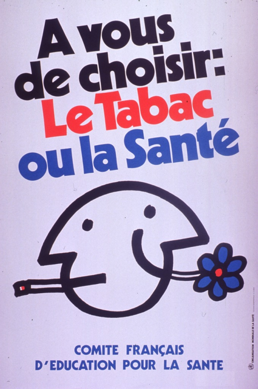 <p>Predominantly white poster with multicolor lettering.  Title at top of poster.  Visual image is an illustration of a Janus-style head.  One side of the head has a cigarette in its mouth; the other side smiles broadly and has a flower protruding from its mouth.  Publisher information below illustration.  Sponsor information on right side of poster.</p>