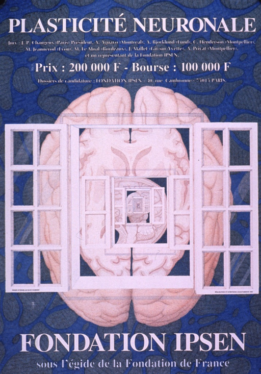 <p>Predominantly blue poster with white and light blue lettering.  Title at top of poster.  Additional text below title announces the jury for a competition, amount of prize and stipend, and address for applications.  Visual image is an illustration of sucessively smaller window frames and different views of the brain.  Background is suggestive of cells viewed under a microscope.  Publisher and sponsor information at bottom of poster.</p>