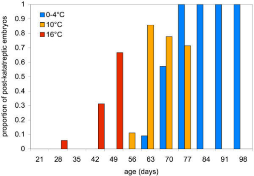 Change in proportion of embryos that have undergone katatrepsis with age (days) in embryos maintained under different temperature regimes.