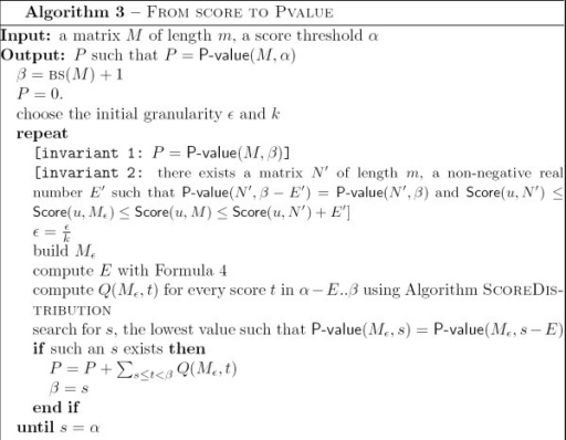 Algorithm From Score to P-value.