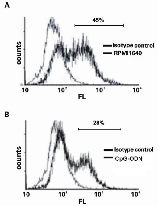 CpG-ODN treatment suppressed the caspase-3 activation in Jurkat cells. HepG2 and Jurkat cells were cultured in medium alone or treated with 1 μM CpG-ODN, respectively for 24 h. The unmanipulated HepG2 and Jurkat cells or the CpG-ODN-treated HepG2 and Jurkat cells were co-cultured for 24, respectively. The Jurkat cells were harvested and the contents of activated caspase-3 were determined by flow cytometry analysis. (A) The unmanipulated Jurkat cells; (B) The CpG-ODN-treated Jurkat cells. Data shown are representative histograms from each group of cells from four separate experiments. The percentage of positive cells was indicated.