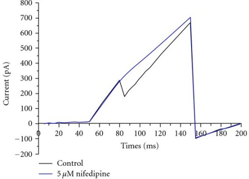 Representative traces show that depolarizing voltage steps elicited inward current in IECs and the inward current was inhibited by nifedipine (5 μM).