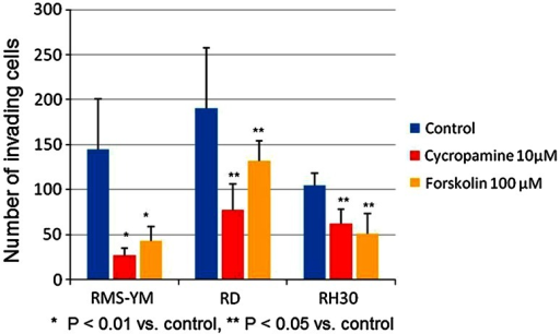 Number of invading cells in the Matrigel invasion assays The number of invading cells significantly decreased in both cyclopamine and forskolin-treated groups compared with the control groups in the three RMS cell lines