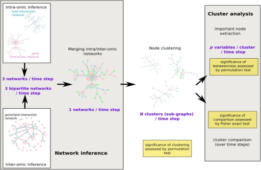 Workflow of the network analysis.Intra- and inter-omics networks were first inferred separately before a global merging for each time step: at baseline, after a 8-week low calorie diet and after weight maintenance diet (3 groups). Node clustering was then performed and clusters were systematically analyzed with most important nodes extraction and across time comparison. Resulting products of each step are given in purple and significant tests to assess the validity of the approach are given in yellow.