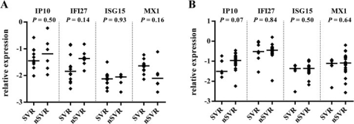 Relationship between hepatic expression of ISGs and treatment outcome, stratified by IL28B genotype.Expression of IP10, IFI27, ISG15, and MX1 in CC (A) and CT-TT (B) IL28B genotype subgroups, stratified by SVR response (for CC subgroup SVR, n = 12, non-SVR [nSVR], n = 6; for CT-TT subgroup SVR, n = 7, nSVR, n = 22). The y-axis shows the relative unit of a given gene, normalized to GAPDH in log scale, as an aligned dot plot displaying the median gene expression level. Each dot represents one sample.