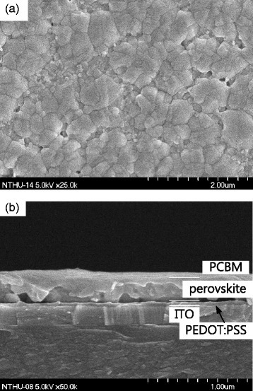a FESEM morphological image of perovskite film. b FESEM cross-sectional image showing the device structure