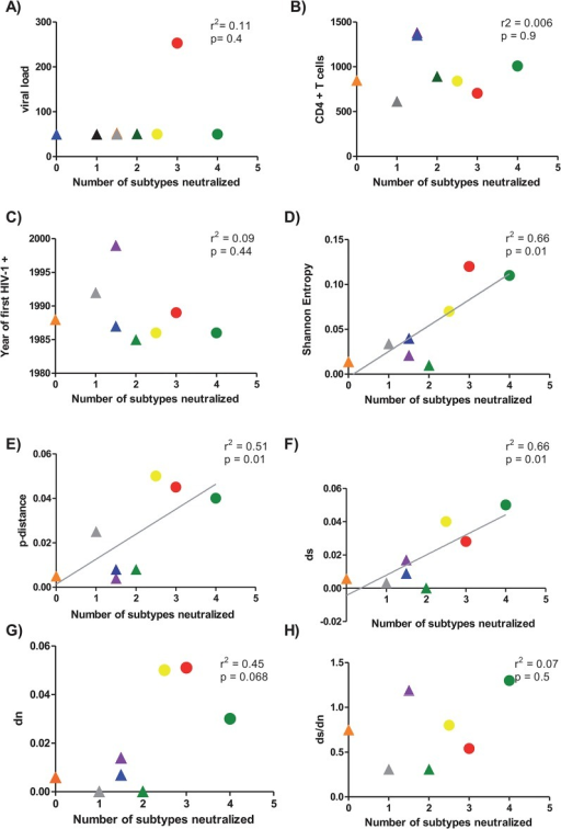 Correlation between clinical data and genetic diversity parameters with heterologous NAb response.Association between viral load (panel A), Cd4+T cells (panel B), years after infection (panel C), Shannon Entropy (panel D), p-distance (panel E), number of synonymous mutations (ds) (panel F), number of non-synonymous mutations (dn) (panel G) and the ratio ds/dn (Panel H) and number of cross-reactive subtypes was calculated. Median of the different clinical data and the genetic parameters for each patient (y axis) was plotted against the number of subtypes neutralized by each the patients (x axis). Patients are identified by the following symbols. LTNP 17 (blue triangle), LTNP 2 (purple triangle), LTNP 20 (green triangle), LTNP 21 (grey triangle), LTNP 3 (orange triangle), MDM (green circle), LTNP-5 (yellow circle), and LTNP 15 (red circle). Correlation between parameters was calculated by linear regression with a 95% of confidence using GraphPad Prism V 4.0 software. For the comparison of the values, a statistical analysis was performed with the non-parametric 2-tailed Mann-Whitney U test with a restrictive significance at the 95% using GraphPad Prism V 4.0 software.