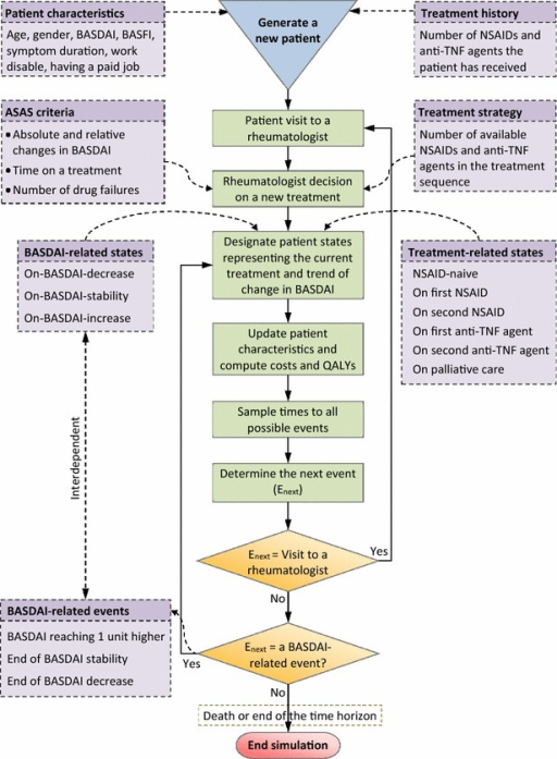 Main components and simulation process of the patient-level model used for tracking a patient with ankylosing spondylitis. For more information, see Tran-Duy et al. [20]