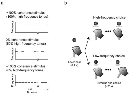"Stimuli and taska, The auditory stimulus was a temporal sequences of tone bursts. Coherence refers to the percentage of high-frequency bursts (up to +100%) or low-frequency bursts (down to −100%). b, The monkey indicated its choice by moving a joystick to the right to report ""low frequency"" or to the left to report ""high frequency."" The monkey could report its choice any time after stimulus onset."